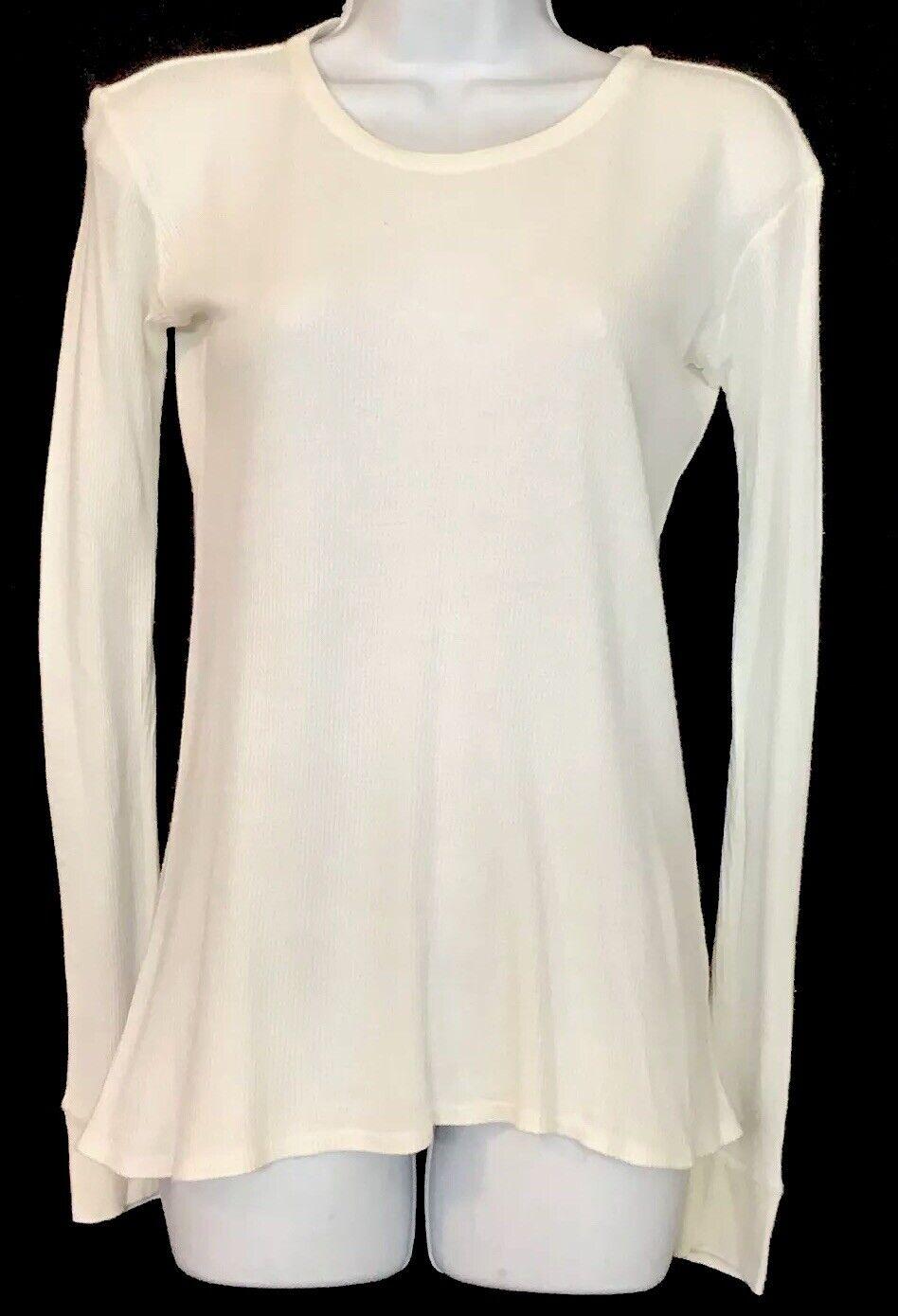 The Row Thermal oben Weiß Texturot Langesleeve Cotton Größe Medium