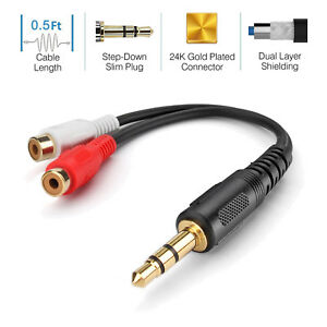 3-5mm-Headphone-Male-Plug-Jack-to-2-RCA-Female-AV-Audio-Stereo-AUX-Cable-Cord-US
