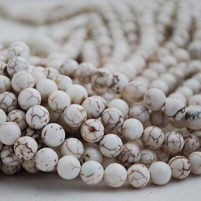 "16"" Semi Precious Gemstone White Turquoise Round Beads  4mm, 6mm, 8mm, 10mm"