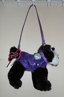 Poochie & Co Faux Fur & Bling Sequin Schnauzer Zippered Animal Purse