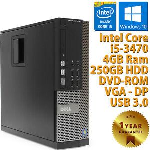 PC-Computer-Aufbereitet-Dell-7010-SFF-Core-i5-3470-RAM-4GB-HDD-250GB-Win-10