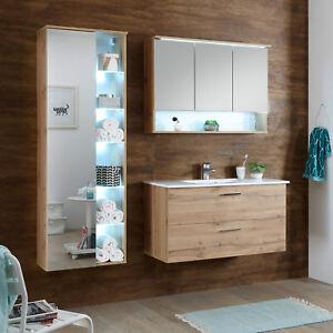 Details Zu Badezimmer Set Komplett Best 5 Teilig Wildeiche Spiegel Becken Led Beleuchtung