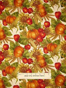Pumpkin-Apple-Sunflower-Fall-Cotton-Fabric-Quilting-Treasures-Autumn-Glow-YARD