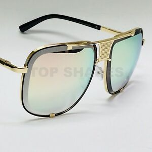 Designer Hot Style Celebrity Gold Brown Gradient Blue Mirror New Hot Sunglasses 100% D'Origine