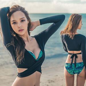 ee002d316d New Beach Rash Guards Long Sleeve Crop Top + Trunks + Bra Swimwear ...