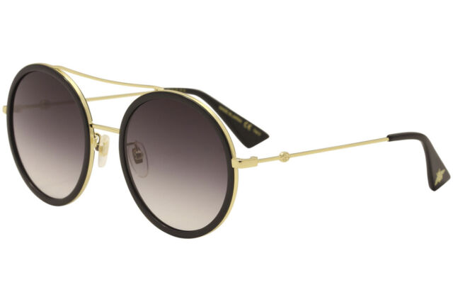 Gucci Women\u0027s GG0061S GG/0061/S 001 Gold/Black Round Sunglasses 56mm
