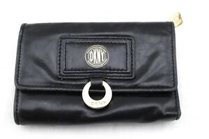DKNY-Donna-Karan-New-York-Black-Leather-Trifold-Wallet