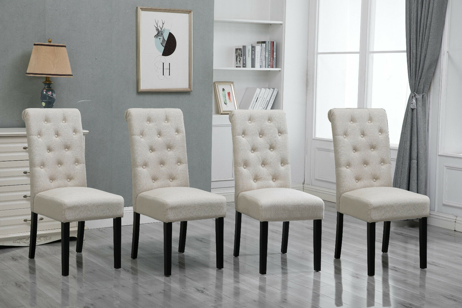 4x Beige Dining Chairs High Back Fabric Upholstered On Tufted Room