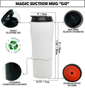GIFT MAGIC SUCTION MUG Classic Black ✈ Travel coffee cup for all Mighty Hikes