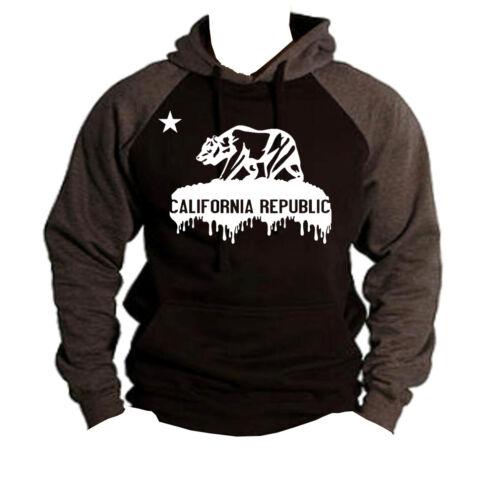 New Men/'s Dripping California Republic Black//Charcoal Raglan Hoodie Cali Sweater
