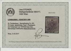 LOMBARDEI-VENETIEN 1850 30C, DUNKELBRAUN! HP, Type I. PLATTENFEHLER! VÖB PRACHT