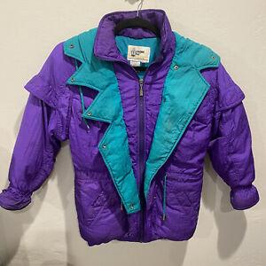 London Fog Vintage Purple 90s Womens Ski Jacket Winter Coat Hood Size Large 14