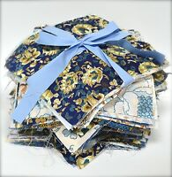Blue Bundle Craft Fabric Material Sewing Patchwork Quilting Squares FREE Buttons