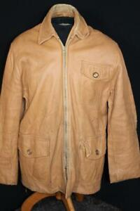 RARE VINTAGE HELDT'S S. D. 1950'S LIGHT BROWN LEATHER JACKET SIZE MEDIUM