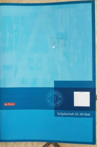 DIN A5 Aufgabenheft 48 Blatt Hausaufgaben Herlitz 80 g//qm holzfrei
