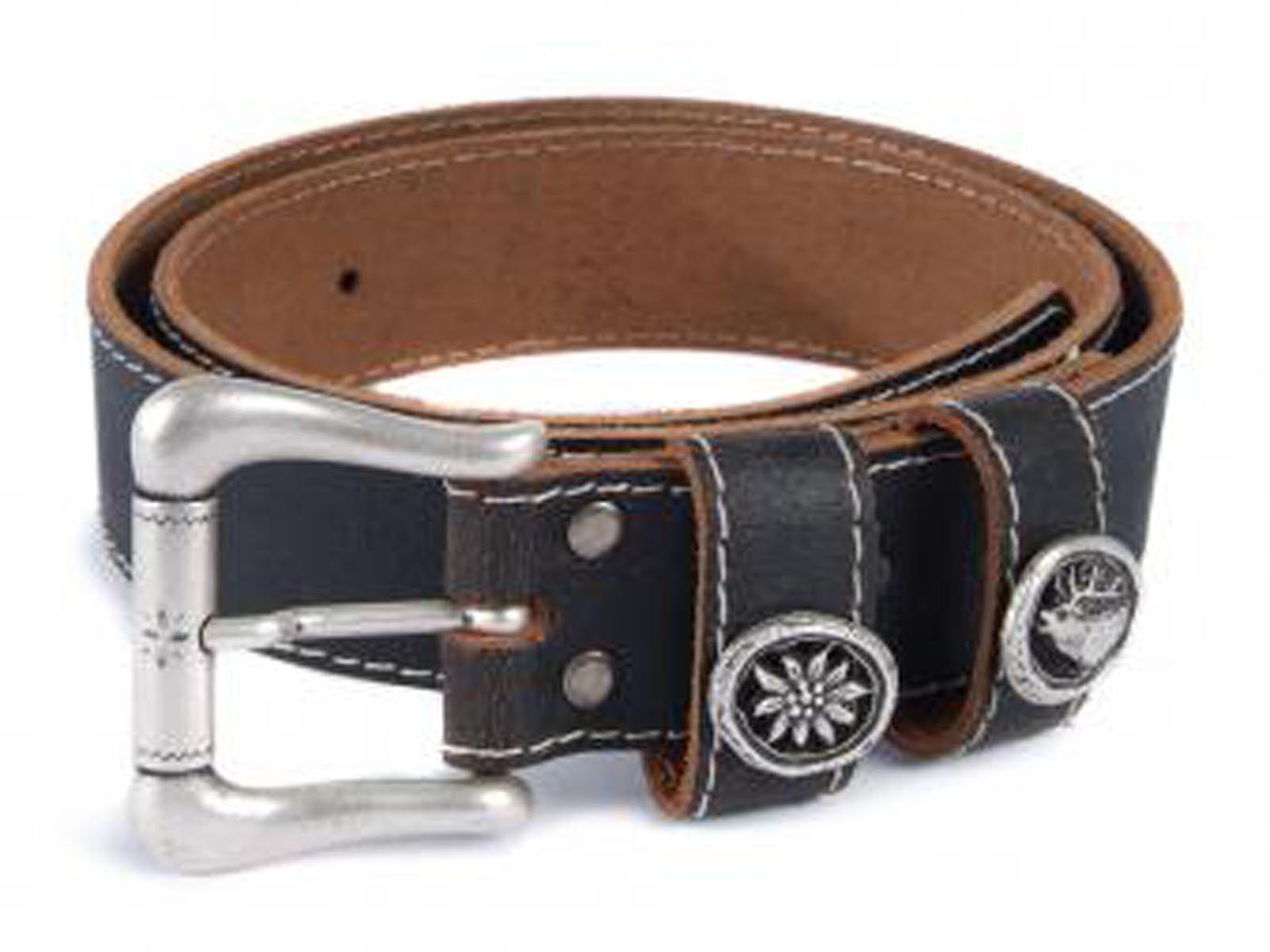 Costume Belt Edelweiss Hirsch Leather Belt 90-120cm NEW