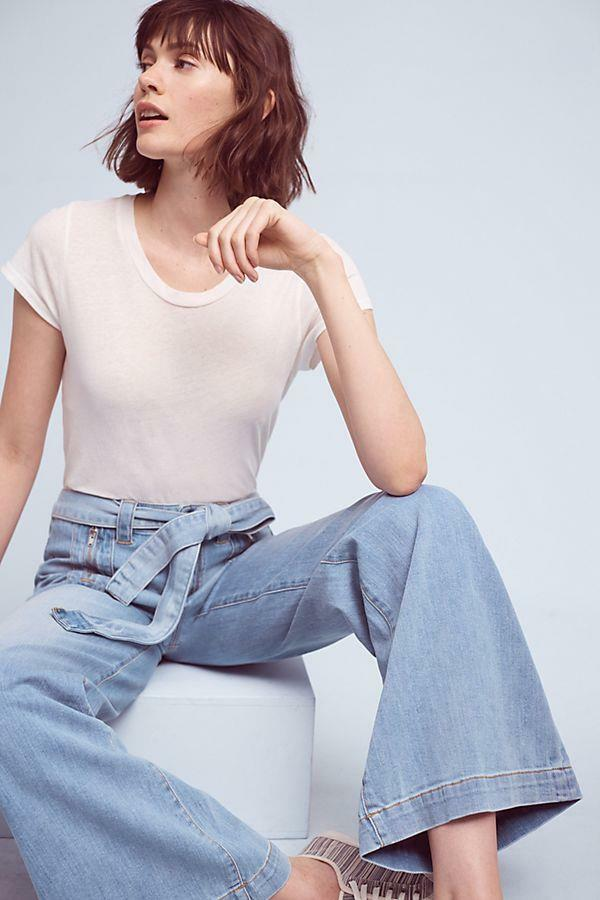 NWOT ANTHROPOLOGIE PILCRO ULTRA HIGH RISE PALAZZO JEANS sz 32