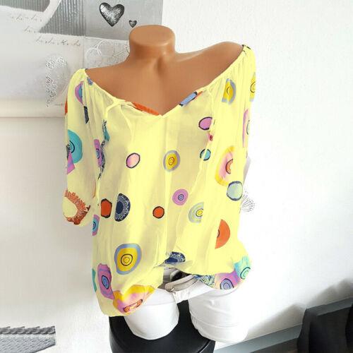 Damen Boho Carmen Bluse Shirts Tops Sommer Lose Hemd Tunika Oberteil Übergröße