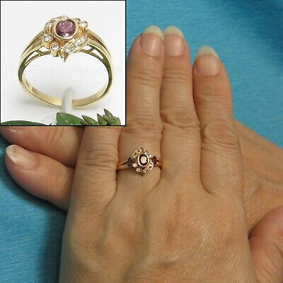 Estate Vintage 18k Yellow Gold Over DIAMOND /& RUBY DINNER Cocktail RING 2.7Ct