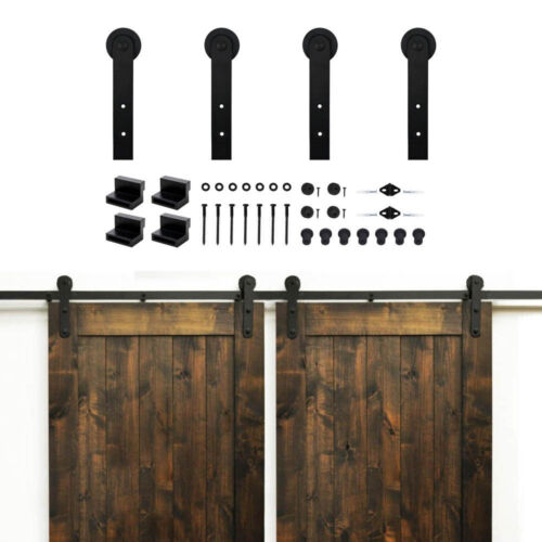 10FT Sliding Barn Door Hardware Double Wood Door Track Hanger Kit I Shape3.05m