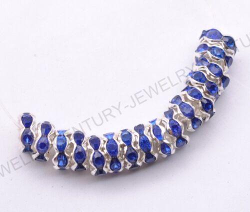 100pcs Tchèque Cristal Strass Argent Blotter Spacer Beads 8 mm