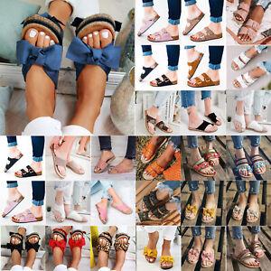Women-039-s-Slip-On-Sandals-Flip-Flops-Summer-Shoes-Comfort-Boho-Flat-Slipper-Casual