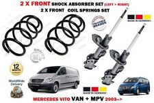 FOR MERCEDES VITO 116 CDI 2003-> 2 X FRONT SHOCK ABSORBERS + 2X COIL SPRINGS KIT