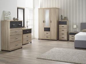 Dominic Sonoma Oak Bedroom Furniture Range Wardrobe Chest Bedside