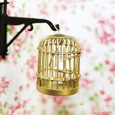 1:12 Doll House Miniature Gold Metal Birdcage Bird On Swing Fairy Garden Cage