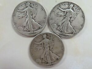 1944-P-amp-D-amp-S-Silver-Walking-Liberty-Half-Dollar-three-coin-set