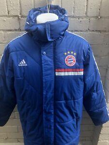 Adidas-Football-Coat-XXL-Bayern-Munchen-FC-Long-Coat-Padded-Autumn-Winter-Blue