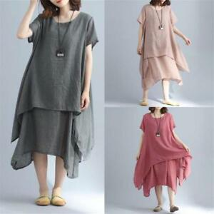 a4c42881e9 Image is loading Vintage-Women-Cotton-Linen-Short-Sleeve-Asymmetrical -Summer-