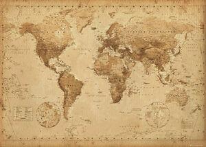 World map vintage antique style giant poster 100x140cm wall chart la foto se est cargando mapa del mundo estilo antiguo vintage poster gigante gumiabroncs Choice Image