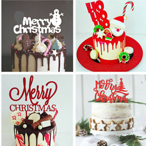 Acrylic Merry Christmas Letters Cake Topper Party Christmas Decorations New Ebay