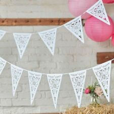 Boho White Floral Di Cut Bunting/Garland Wedding/Afternoon Tea/Party Decoration