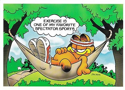 Jim Davis Garfield Exercise Is One Of My Favorite Spectator Sports Postcard Ebay