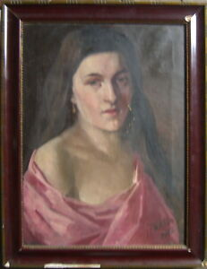 Viktor-schunn-1881-Herrmann-citta-Portrait-Selma-firmato-datato-antico