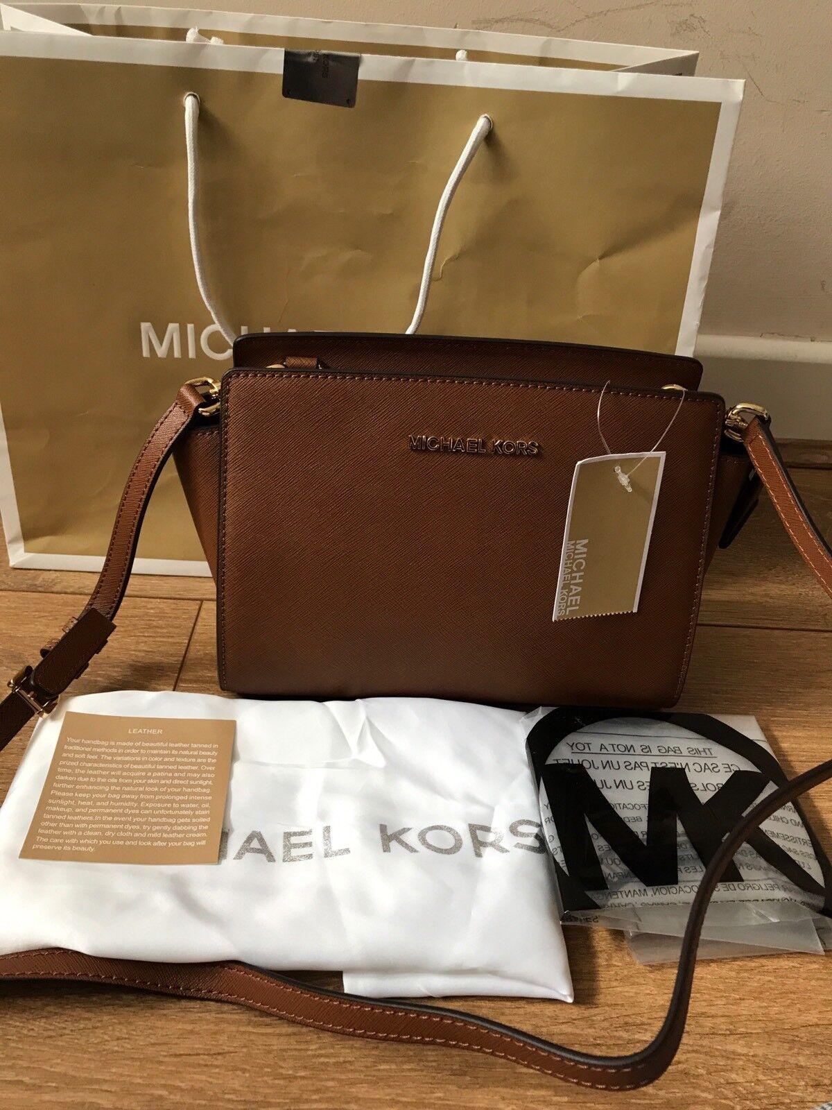 un'altra possibilità 03559 d562a BNWT Michael Kors Luggage/Brown Selma Medium Messenger Crossbody bag Rrp  £220