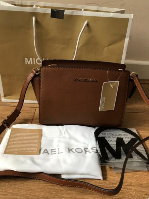 74af3f1d8925 BNWT Michael Kors Luggage Brown Selma Medium Messenger Crossbody bag Rrp  £220