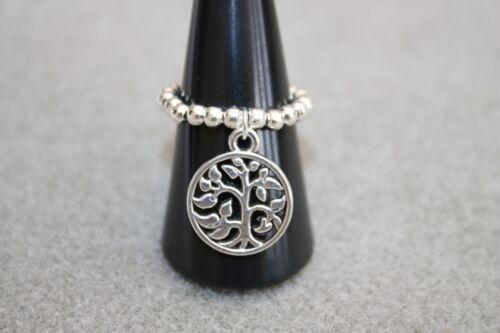 nuevo Chapado en Plata Perlas /& Árbol de la vida encanto colgante anillo de estiramiento del pulgar