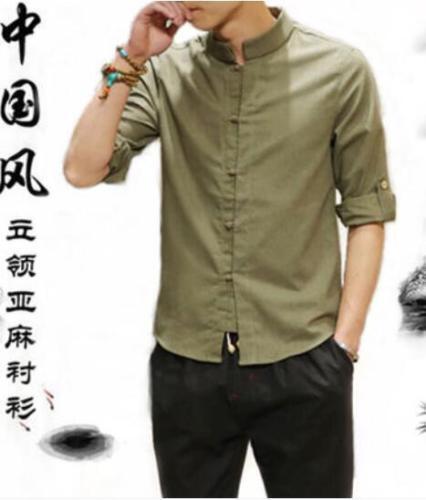 Men/'s Summer Chinese Style Shirt Short Sleeve Casual Shirt Cotton Linen Shirts s