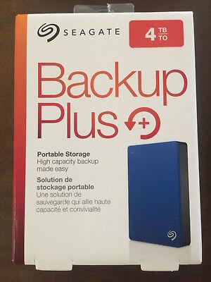 Seagate Backup Plus Slim 4TB External USB 3.0/2.0 Portable Hard Drive Blue