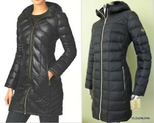 Details zu NWT MICHAEL KORS Packable Hooded Quilted Down Jacket wpockets Black SMALL