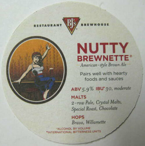 BJ/'s NUTTY BREWNETTE AMERICAN BROWN ALE Beer COASTER Mat w// GIRL CALIFORNIA 2014