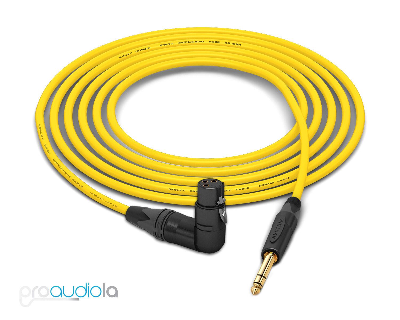 Mogami 2534 Quad Cable   Neutrik Gold 90º XLR-Female to TRS   Gelb 25 Feet 25'