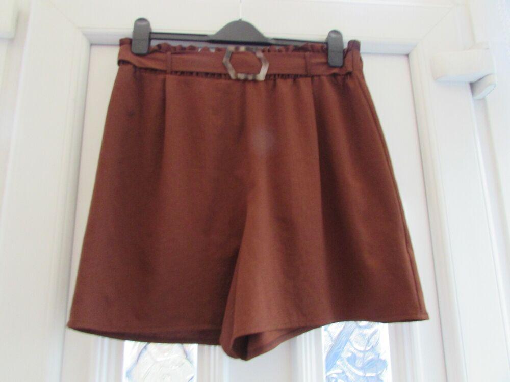 Utile Neuf Avec étiquettes Marron Sac Papier Style Belted Short Taille 14