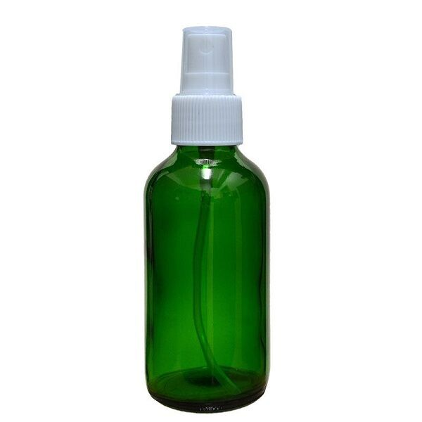 6 NEW 4 oz. Green Boston Round GLASS Spray Bottle with white fine mist sprayers