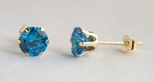 Girls 9ct Gold 5mm Round LONDON BLUE TOPAZ Stud Earrings Mothers Day GIFT BOX BN