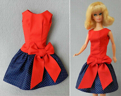 Barbie fashion HANDMADE vintage REPRO #1651 Beau Time Best Bow v08 NAVY PIN DOT