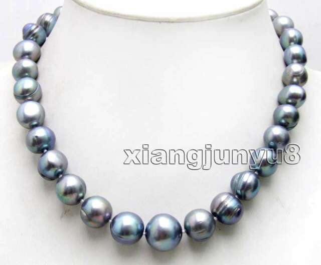 """11-14mm Black Round Natural Freshwater Pearl Necklace Women Choker 17"""" Jewelry"""